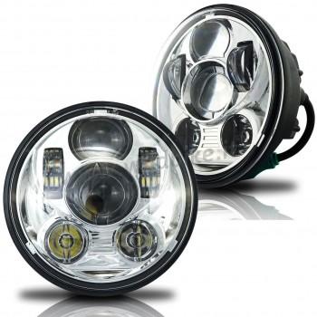 GRUPPO OTTICO FARO ANTERIORE A 6 LED OMOLOGATO 5.75 SUPERLIGHT CROMATO HARLEY DAVIDSON XL SPORTSTER '04-'19