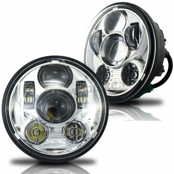 CHROME SIX LED FRONT HEADLIGHT BODY EU APPROVED 5.75 SUPERLIGHT FOR HARLEY DAVIDSON FXD DYNA '97-'17