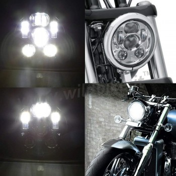 CHROME SIX LED FRONT HEADLIGHT BODY EU APPROVED 5.75 SUPERLIGHT FOR MOTORCYCLE
