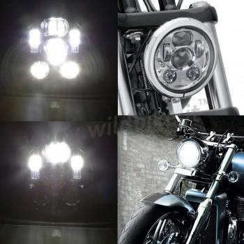 PARABOLA GRUPPO OTTICO FARO FANALE ANTERIORE A 6 LED OMOLOGATO 5.75 SUPERLIGHT CROMATO PER MOTO
