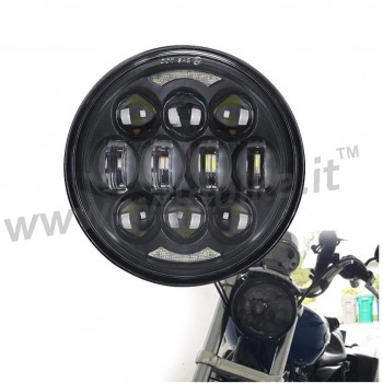 PARABOLA GRUPPO OTTICO FARO ANTERIORE A 12 LED EMC OMOLOGATO 5.75 SUPERLIGHT NERO PER MOTO