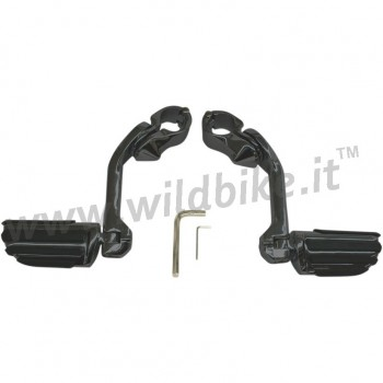 """BLACK TAPERED RIBBED 5"""" FOOTPEGS FOR ENGINE GUARD 1-1/4"""" HARLEY DAVIDSON AND MOTORCYCLES"""