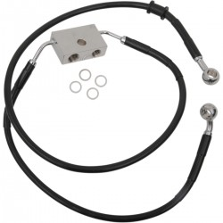 "BLACK CABLE WITH ABS STAINLESS STEEL LINE KITS FRONT BRAKE EXT + 10"" HARLEY DAVIDSON XL 1200X FORTY EIGHT '14-'19"