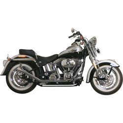 EXHAUSTS SYSTEM FISHTAIL 2 INTO 2 CHROME FOR HARLEY DAVIDSON FXST FLST SOFTAIL '00-'17