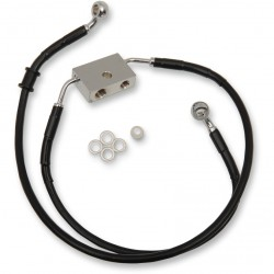 "BLACK CABLE WITH ABS STAINLESS STEEL LINE KITS FRONT BRAKE EXT + 4"" HARLEY DAVIDSON XL 883N IRON '14-'19"