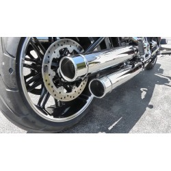 "CHROME EXHAUST LONG MUFFLERS TAB SLIP-ON 3.5"" HARLEY DAVIDSON M-EIGHT SOFTAIL '18-'20"