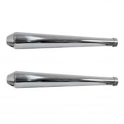 EXHAUSTS MUFFLERS SET SLIP-ON 66 CM MEGAPHONE CONE CHROME FOR MOTORCYCLES