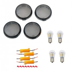 LED CONVERSION KIT SMOKED TURN SIGNAL LENS HARLEY DAVIDSON FXST FLST SOFTAIL 00-17