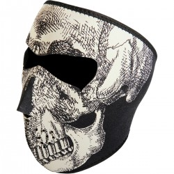 FACE MASK NEOPRENE SKULL  FULL FACE GLOW-IN-THE-DARK LETHAL DESIGN