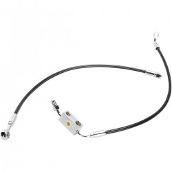 "BLACK CABLE WITH ABS STAINLESS STEEL LINE KITS FRONT BRAKE EXT 21"" HARLEY DAVIDSON XL..."