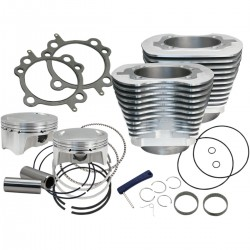 "CYLINDER KIT 4"" BORE BOLT-IN SILVER BOOSTED 110"" HARLEY DAVIDSON BIG TWIN/TWIN CAM 07-17"