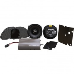 AMPLIFIER AND FRONT SPEAKER KIT HOGTUNES REV225 AA HARLEY DAVIDSON FLTR ROAD GLIDE 99-13