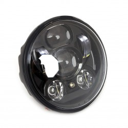 BLACK SEVEN LED FRONT HEADLIGHT BODY 5.75 WITH RUNNING LIGHT HARLEY DAVIDSON FXD DYNA '97-'17