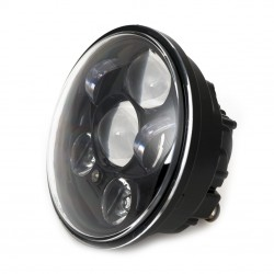 BLACK SEVEN LED FRONT HEADLIGHT BODY 5.75 WITH RUNNING LIGHT CUSTOM MOTORCYCLE AND HARLEY DAVIDSON