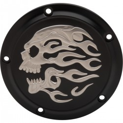 BLACK CLUTCH DERBY COVER SKULL FLAME 3D HARLEY DAVIDSON TWIN CAM 99-17