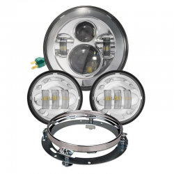 KIT HEADLIGHT AND AUXILIARY LIGHTS CHROME EU APPROVED FOR MOTORCYCLE AND HARLEY DAVIDSON