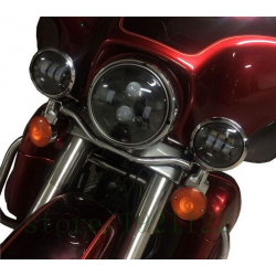 KIT HEADLIGHT AND AUXILIARY LIGHTS BLACK EU APPROVED FOR MOTORCYCLE AND HARLEY DAVIDSON