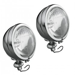 "AUXILIARY SPOTLIGHT KIT CHROME PAIR 4 1/2"" 110 MM CUSTOM MOTORCYCLE AND HARLEY DAVIDSON"
