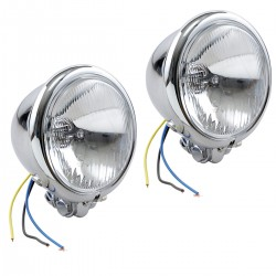 "AUXILIARY SPOTLIGHTS CHROME PAIR 4 1/2"" 110 MM BLUE LIGHT CUSTOM MOTORCYCLE AND HARLEY..."