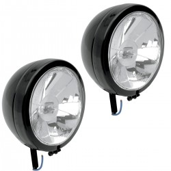 "AUXILIARY SPOTLIGHT KIT DIAMOND BLACK 4 1/2"" 110 MM CUSTOM MOTORCYCLE AND HARLEY DAVIDSON"