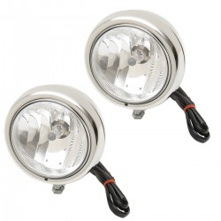 "AUXILIARY SPOTLIGHT CLASSIC KIT CHROME PAIR 4 1/2"" 110 MM CUSTOM MOTORCYCLE AND HARLEY..."