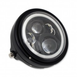 "BLACK FRONT HEADLIGHT ASSEMBLY LED HALO RING EU APPROVED 7"" 180 MM FOR MOTORCYCLE"