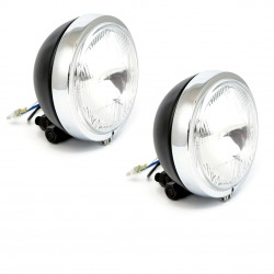 "AUXILIARY SPOTLIGHT KIT CHROME/BLACK PAIR 4 1/2"" 110 MM CUSTOM MOTORCYCLE AND HARLEY DAVIDSON"