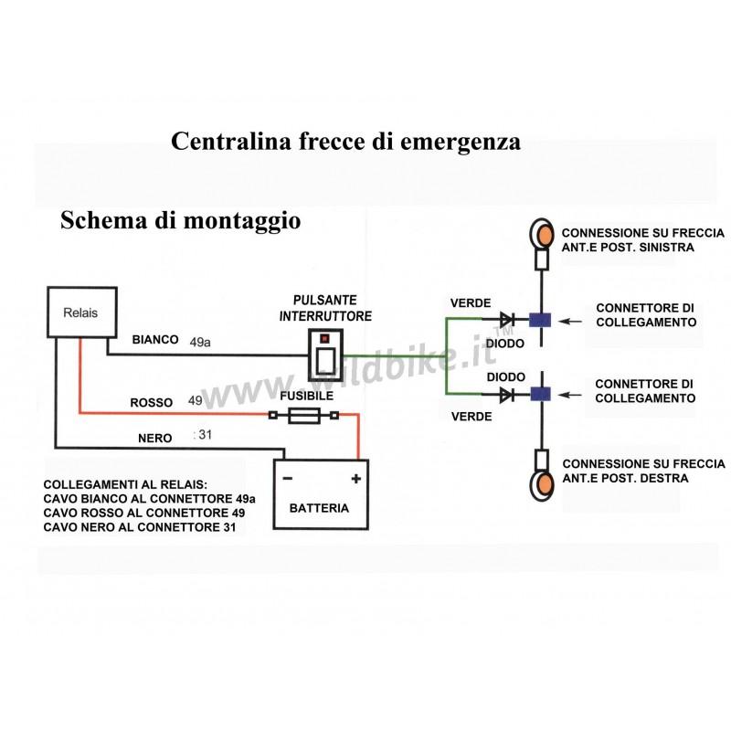 Schema Elettrico Per Faretti Moto : Centralina con interruttore in kit per frecce di emergenza