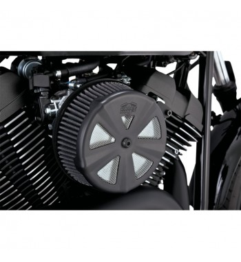 BLACK SKULLCAP AIR CLEANER INSERTS FOR VANCE & HINES VO2 NAKED