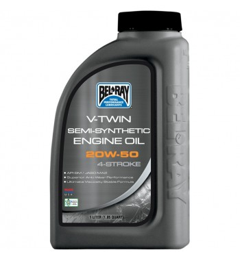 MOTOR OIL BEL RAY 4 STROKES V-TWIN SEMI-SINTHETIC 20W50 1 LT. HARLEY DAVIDSON AND CUSTOM MOTORCYCLE