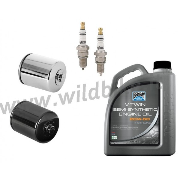 COMPLETE MAINTENANCE KIT BEL-RAY CINEMA 20W50 candles and K&N FILTER HARLEY  XL SPORTSTER