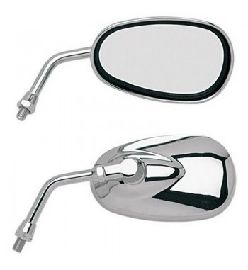 MIRROR OVAL CHROME CRUISER ECE APPROVEDCUSTOM BIKE