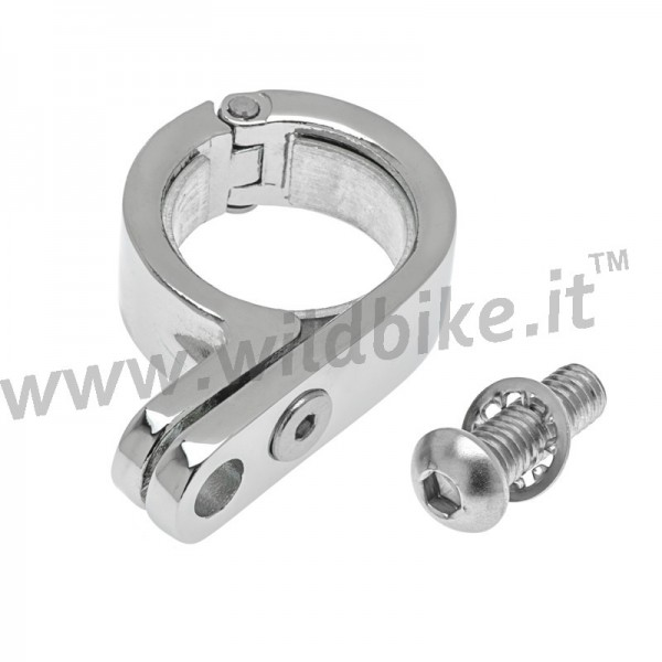MORSETTO P-CLAMP CROMATO PER FORCELLE 39-41 MM FARI AUSILIARI MOTO CUSTOM E HARLEY