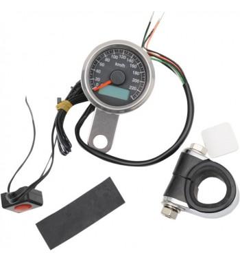 tachymètre électronique mini 220 km/h 47,5 mm. noir moto custom et harley