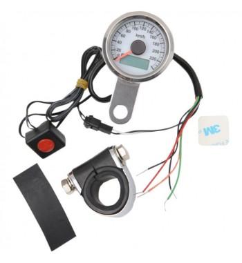 tachymètre électronique mini 220 km/h 47,5 mm. blanc moto custom et harley