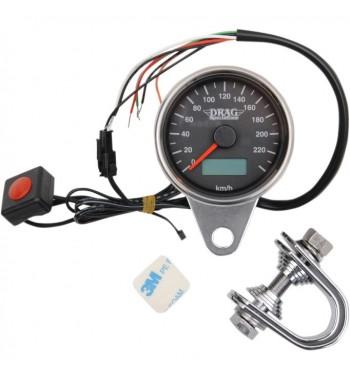 tachymètre électronique mini 220 km/h 61 mm. noir moto custom et harley