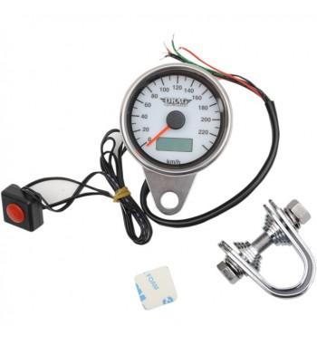 tachymètre électronique mini 220 km/h 61 mm. blanc moto custom et harley