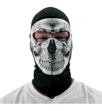 COOLMAX® BALACLAVA WITH NEOPRENE FACE MASK BLACK SKULL RIDER