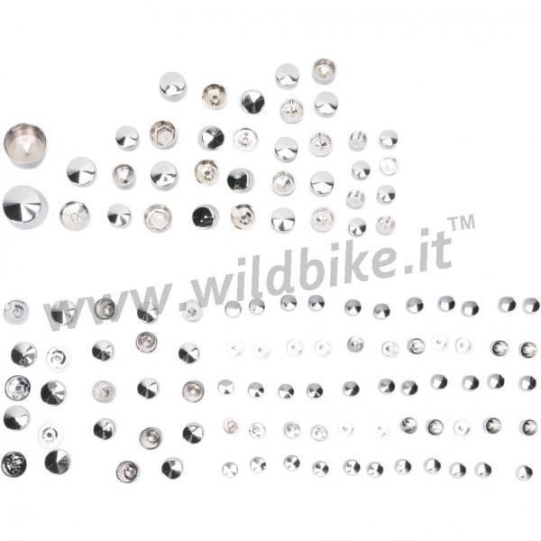 COPERTURE COPRI BULLONI KIT DE LUXE CROMATI HARLEY DAVIDSON FLH FLT '09-'14
