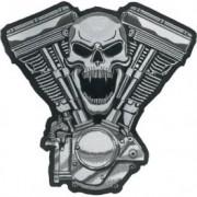 toppa custom,toppa teschio biker,patch ricamata custom,patch skull,toppa harley davidson