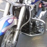 Tubi protezione motore in acciaio cromato e nero per Kawasaki
